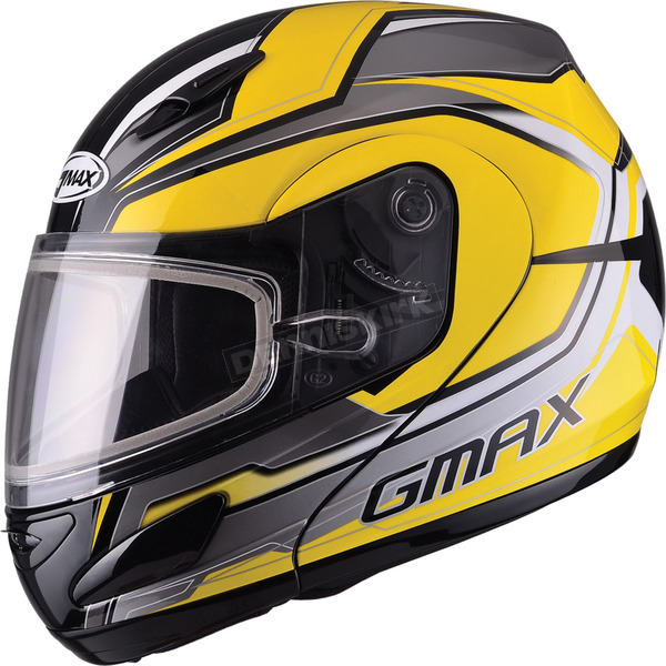 GMax Yellow/Silver/Black GM44S Glacier Modular Snowmobile Helmet - 72-6085M