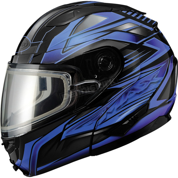 GMax Black/Blue GM64S Carbide Modular Snowmobile Helmet w/Dual Lens Shield - 72-62623X