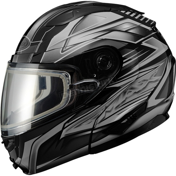 GMax Black/Dark Silver GM64S Carbide Modular Snowmobile Helmet w/Dual Lens Shield - 72-6263X