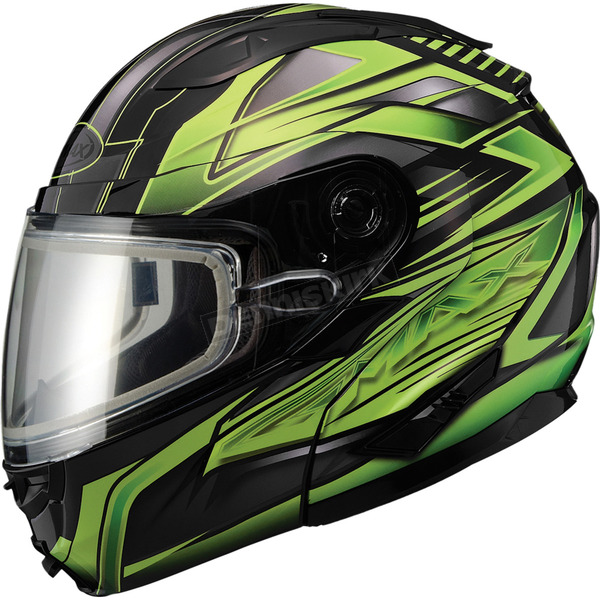 GMax Black/Green GM64S Carbide Modular Snowmobile Helmet w/Dual Lens Shield - 72-6264X