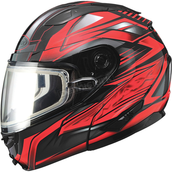 GMax Black/Red GM64S Carbide Modular Snowmobile Helmet w/Dual Lens Shield - 72-62613X