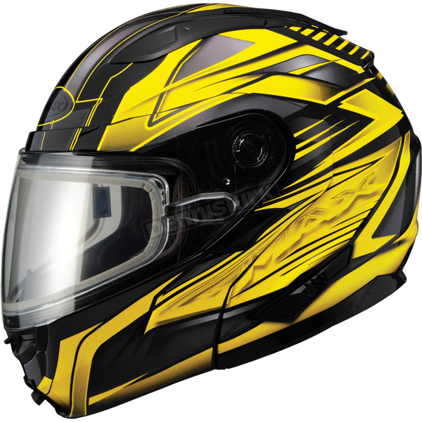GMax Black/Yellow GM64S Carbide Modular Snowmobile Helmet w/Dual Lens Shield - 72-62653X