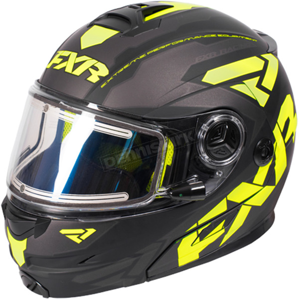 FXR Racing Black/Hi-Vis/Charcoal Fuel Modular Elite Helmet w/Electric Shield - 170624-1065-10