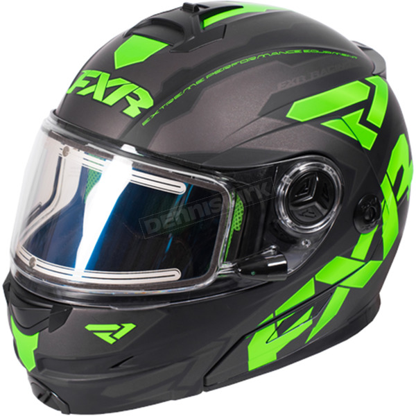 FXR Racing Black/Lime/Charcoal Fuel Modular Elite Helmet w/Electric Shield - 170624-1070-04