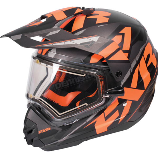 FXR Racing  Black/Orange/Charcoal Torque X Core Helmet w/Electric Shield  - 170610-1030-13