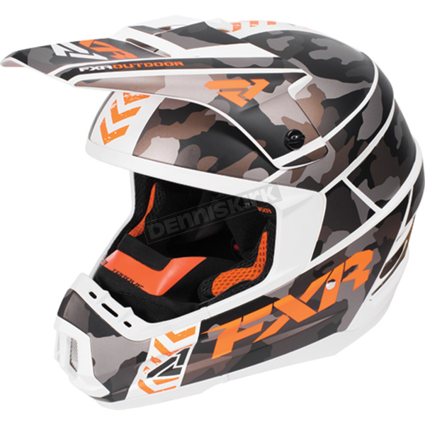FXR Racing Gray Urban Camo/White/Orange Torque Squadron Helmet - 170619-0601-16