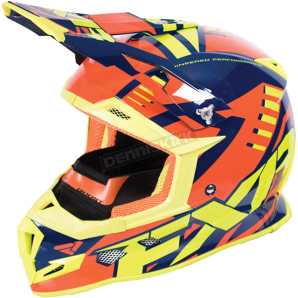 FXR Racing Navy/Orange/Hi-Vis Boost Revo Helmet - 170607-4530-07