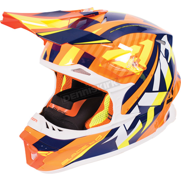 FXR Racing Orange/Navy/Hi-Vis Blade Throttle Helmet - 170603-3045-16
