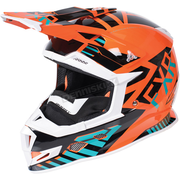 FXR Racing Orange/Teal/Black Boost Battalion Helmet - 170606-3055-16