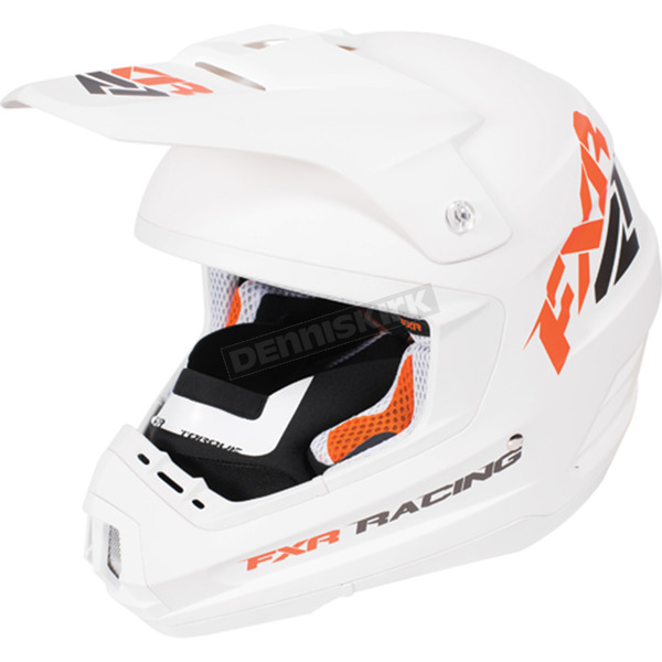 FXR Racing White/Orange Torque Recoil Helmet - 170620-0130-16