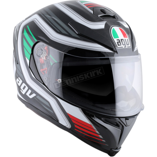 AGV Black/White/Green/Red K-5 S Firerace Italy Helmet - 0041O2HY01109
