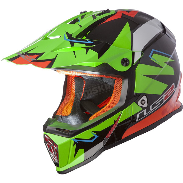 LS2 Green/Black/Orange Fast Explosive Helmet - 437-1015