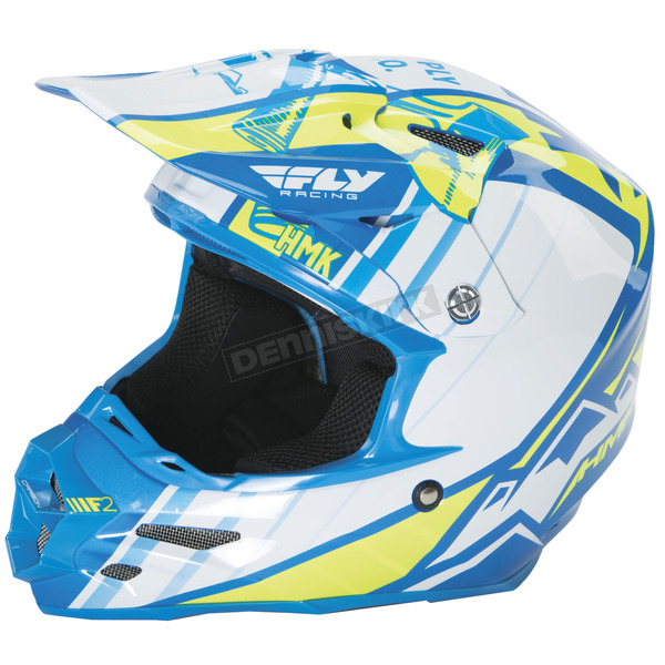 Fly Racing Blue/Hi-Vis HMK F2 Carbon Cross Helmet - 73-49282X
