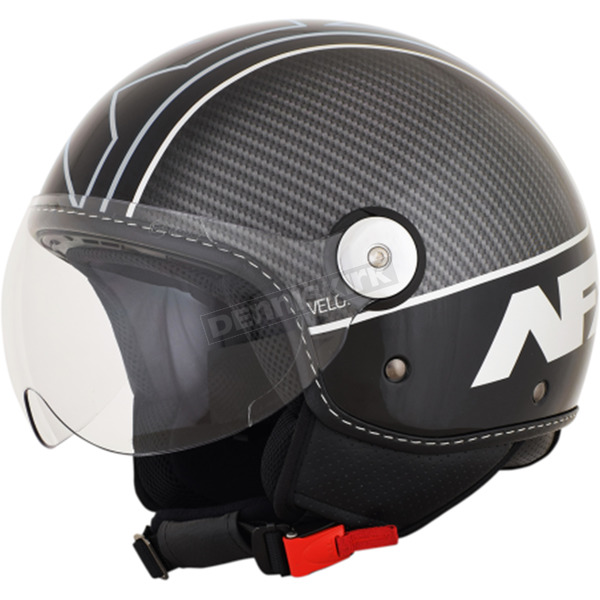 AFX Gloss Black/Silver Veloce FX-33 Scooter Helmet - 0106-0706