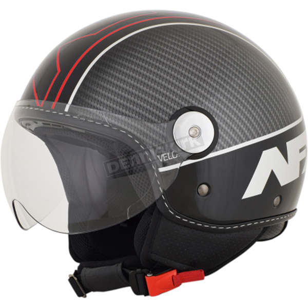 AFX Gloss Black/Red Veloce FX-33 Scooter Helmet - 0106-0715