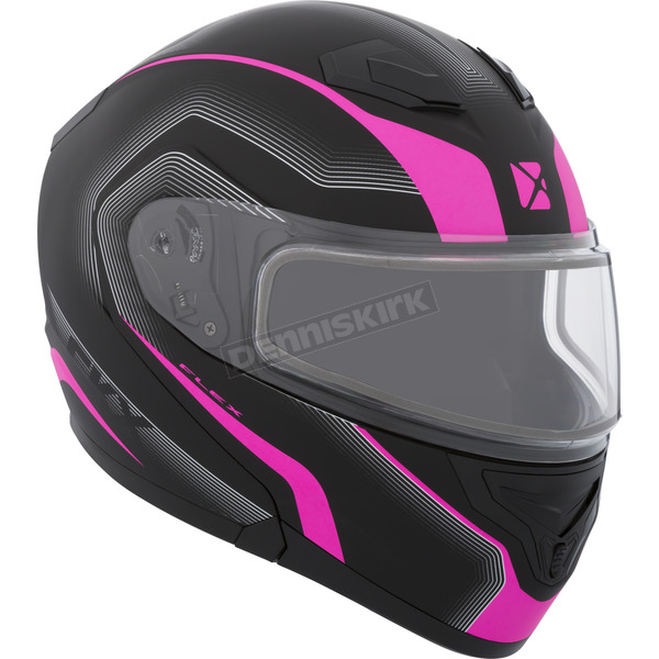 CKX Matte Black/Pink/Charcoad Flex RSV Lucas Snow Modular Helmet w/Electric Shield - 505864