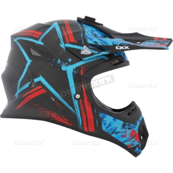 CKX Black/Blue/Red TX 707 Carbon Fiber Helmet - 504735