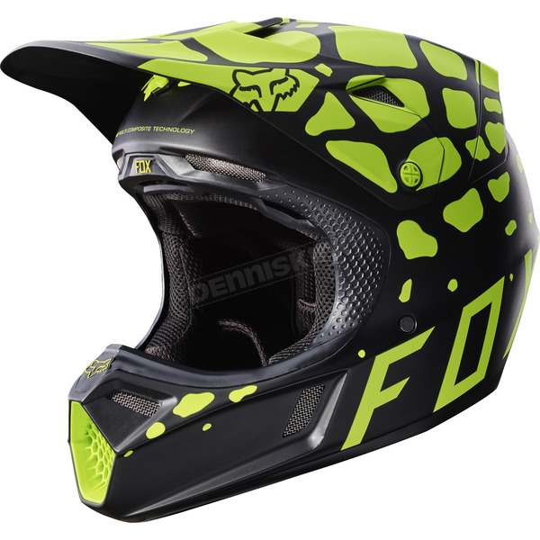 Fox Black/Yellow V3 Grav Helmet - 17383-019-S