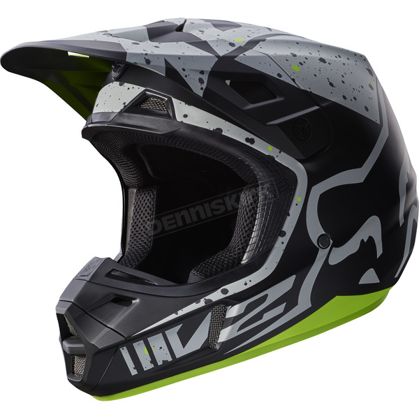 Fox Gray/Yellow V2 Nirv Helmet - 17371-086-L