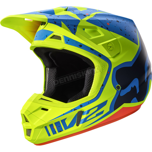Fox Yellow/Blue V2 Nirv Helmet - 17371-586-XL