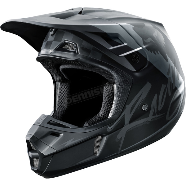 Fox Black/Gray V2 Rohr Helmet - 17374-014-L