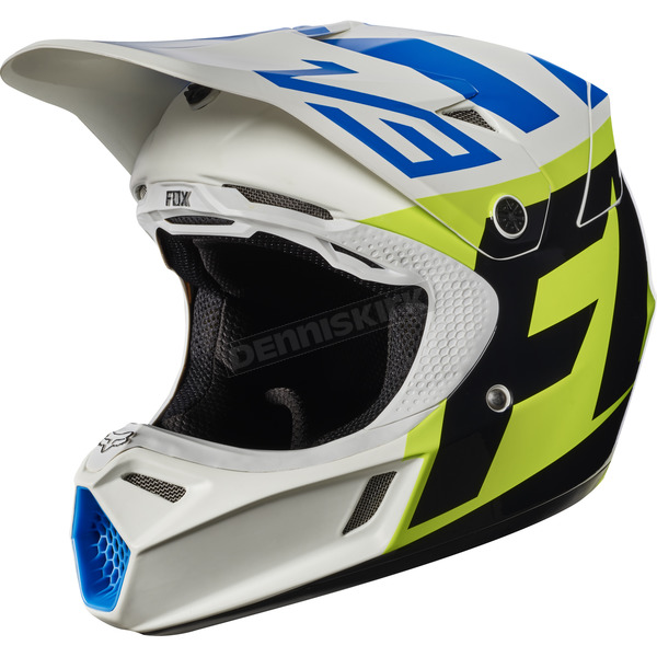 Fox Youth White/Yellow V3 Creo Helmet - 17405-214-S