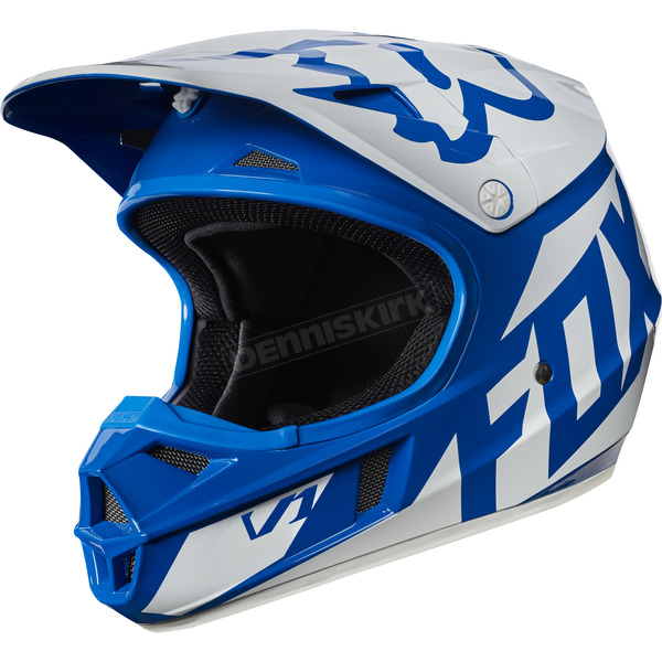 Fox Youth Blue V1 Race Helmet - 17396-002-L
