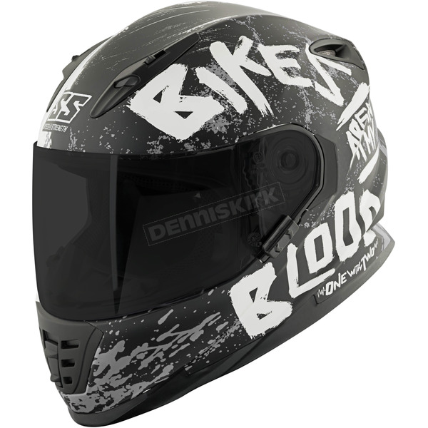 Speed and Strength Matte Black/White/Charcoal SS1310 Bikes Are In My Blood Helmet - 884374