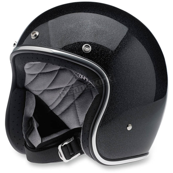 Biltwell Midnight Black Mini Flake Bonanza Helmet - BHMIDGLMINSML