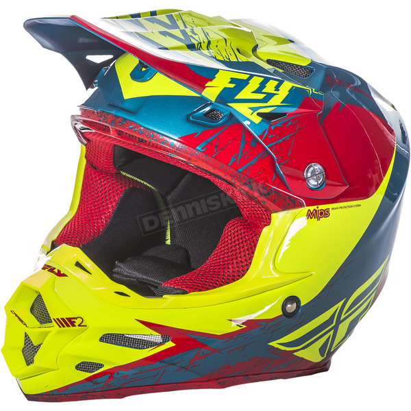 Fly Racing Red/Hi-Vis F2 Carbon MIPS Retrospec Helmet - 73-4223M
