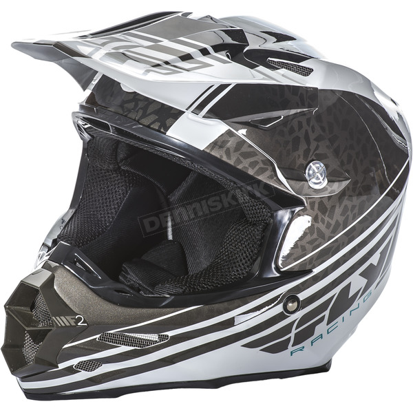 Fly Racing Black/White F2 Carbon Animal Helmet - 73-4141L