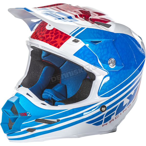 Fly Racing Blue/White/Red F2 Carbon Animal Helmet - 73-4142L