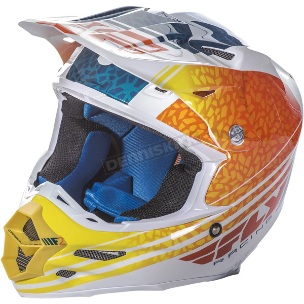 Fly Racing Orange/White/Teal F2 Carbon Animal Helmet - 73-4146S