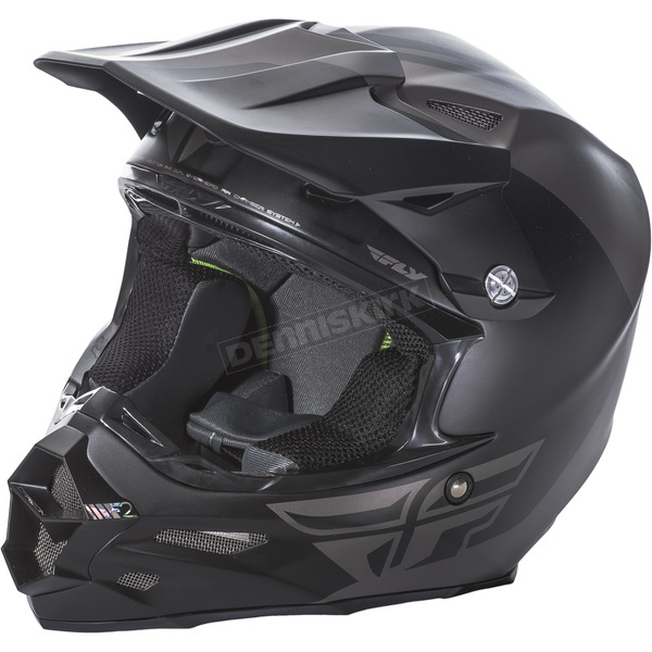 Fly Racing Matte Gray/Black F2 Carbon Pure Helmet - 73-4130L