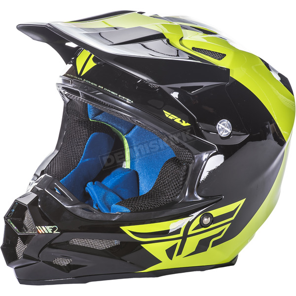 Fly Racing Hi-Vis/Black F2 Carbon Pure Helmet - 73-4131S
