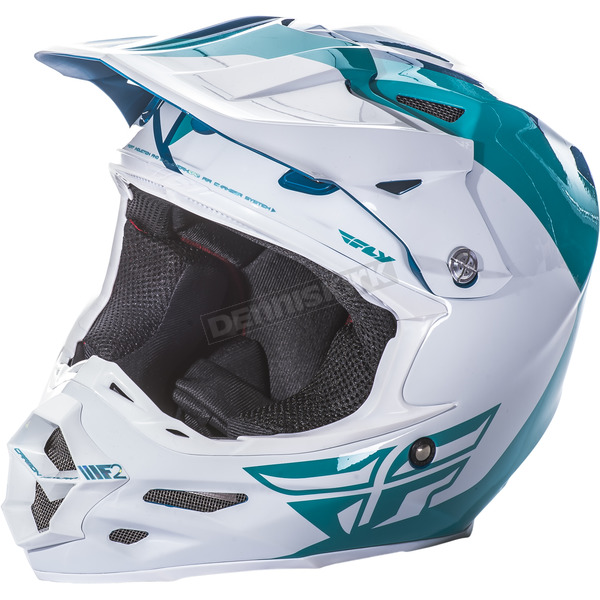 Fly Racing Teal/White F2 Carbon Pure Helmet - 73-41382X