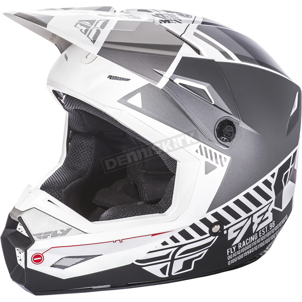 Fly Racing Youth Matte White/Gray Kinetic Elite Onset Helmet - 73-8500YL