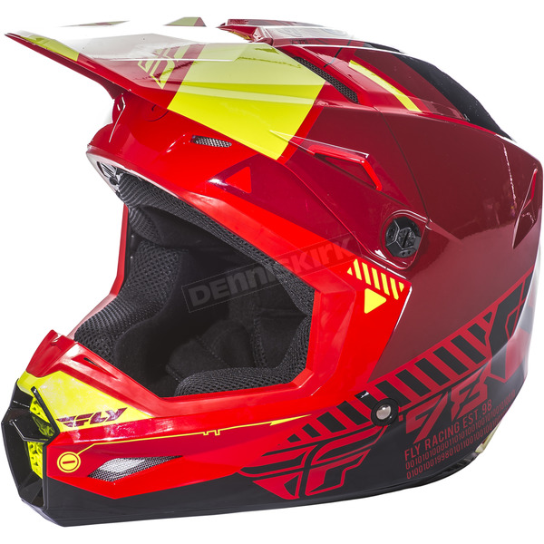 Fly Racing Youth Red/Black/Hi-Vis Kinetic Elite Onset Helmet - 73-8502YM