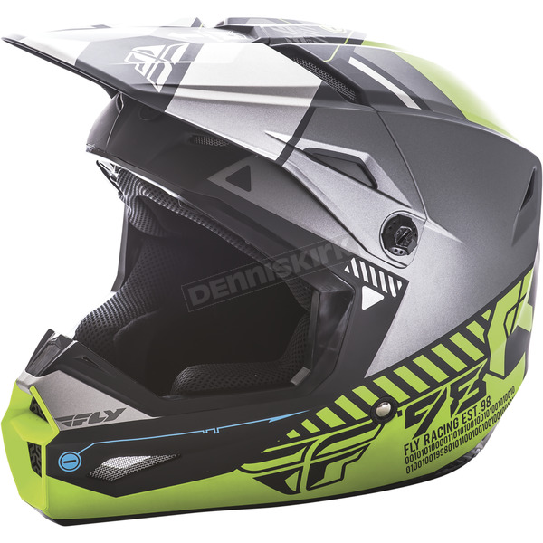 Fly Racing Matte Black/Gray/Hi-Vis Kinetic Elite Onset Helmet - 73-8505L