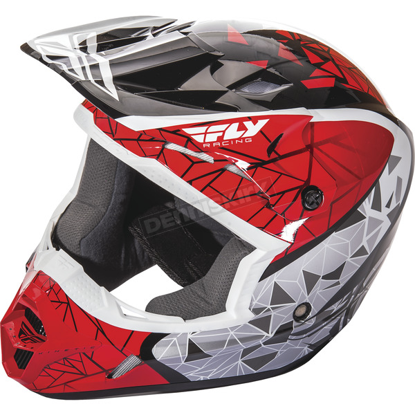 Fly Racing Youth Red/Black/White Kinetic Crux Helmet - 73-3382YL