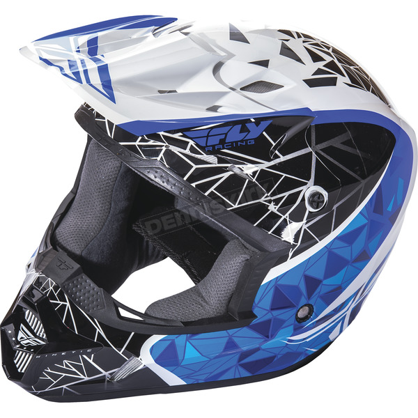 Fly Racing Youth White/Black/Blue Kinetic Crux Helmet - 73-3383YM