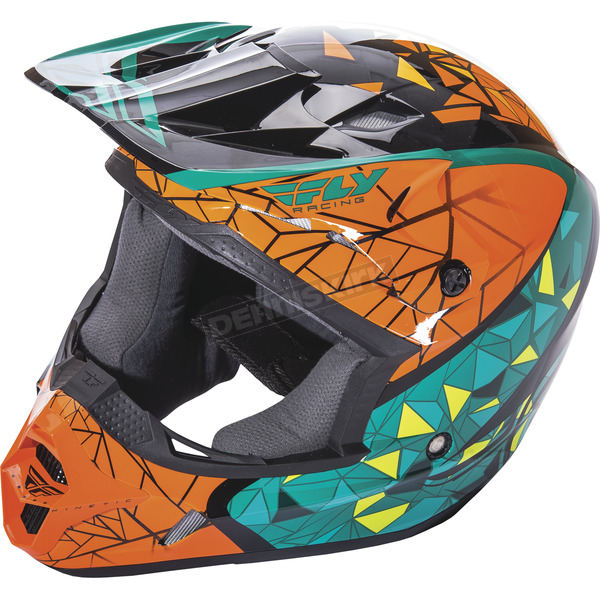 Fly Racing Teal/Orange/Black Kinetic Crux Helmet - 73-3388S
