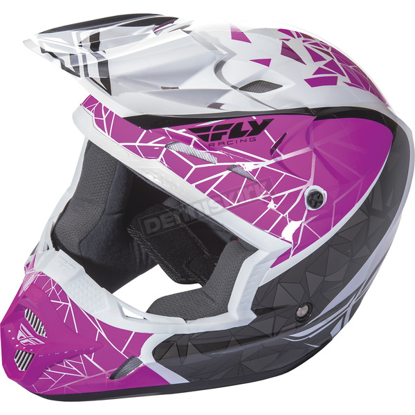 Fly Racing Youth Pink/Black/White Kinetic Crux Helmet - 73-3389YS