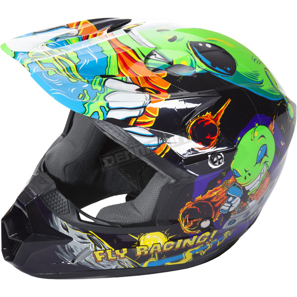 Fly Racing Youth Green Kinetic Invasion Helmet - 73-3453YL