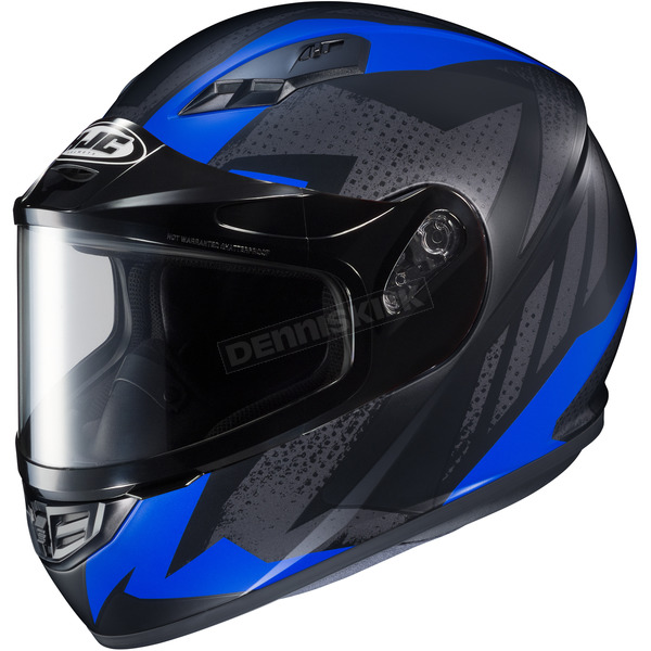 HJC Flat Black/Gray/Blue CS-R3 Treague MC-2F Snow Helmet w/Framed Dual Lens Shield - 55-19224