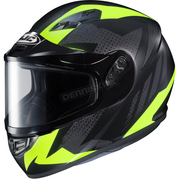HJC Flat Black/Gray/Hi-Viz Flat CS-R3 Treague MC-3HF Snow Helmet w/Framed Dual Lens Shield - 55-19239
