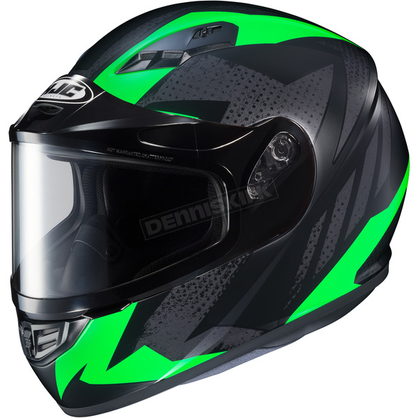 HJC Flat Black/Gray/Green CS-R3 Treague MC-4F Snow Helmet w/Framed Dual Lens Shield - 135-845