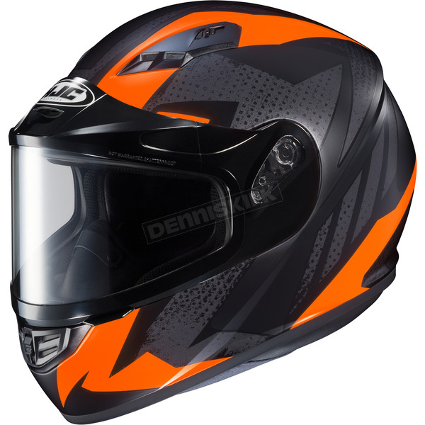 HJC Flat Black/Gray/Neon Orange CS-R3 Treague MC-6HF Snow Helmet w/Framed Dual Lens Shield - 135-865