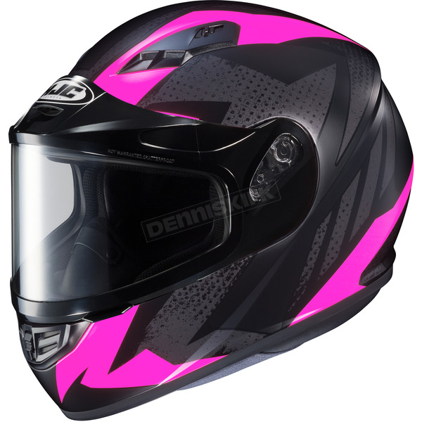 HJC Flat Black/Gray/Pink CS-R3 Treague MC-8F Snow Helmet w/Framed Dual Lens Shield - 135-881