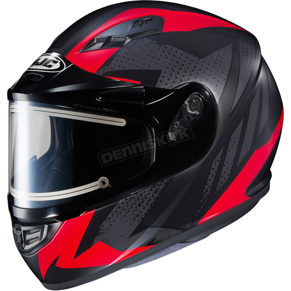 HJC Flat Black/Gray/Red CS-R3 Treague MC-1F Snow Helmet w/Framed Electric Shield - 035-815